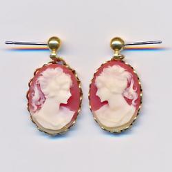 Carnellian Cameo Earrings